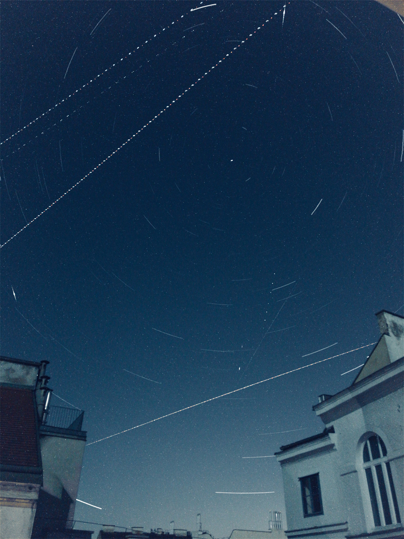 A 40 minute startrail that captured SVs 82, 911, 920, the ISS and an unknown flare. You're welcome!